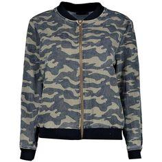 Boohoo Ruby Camo Denim Bomber Jacket ($32) ❤ liked on Polyvore featuring outerwear, jackets, denim bomber jacket, bomber style jacket, camo bomber jacket, flight jacket and camouflage denim jacket