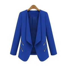 Dramatic Lapel With Zips Plain Blazers ($66) ❤ liked on Polyvore featuring outerwear, jackets, blazers, lapel jacket, blue jackets, blue blazer, zip jacket and lapel blazer
