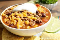 This slow cooker soup is great for the summer, fall, or winter. Make this spicy taco soup for game day and serve it with tortilla chips.