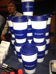 The Officeworx travel mugs are always a hit at the exhibitions..