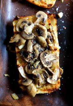 Simple Garlic Mushroom Bruschetta This is amazing. I use garlic toast, and I slather cream cheese on the toast before putting the mushrooms.