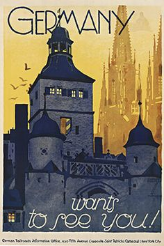 """""""Germany Wants to See You!"""" German Railroads travel poster created for the US to visit Germany in the 1920 - 1930's. The background features the silhouette of the Cologne Cathedral. The Vintage Poster - Artist: Ludwig Hohlwein"""