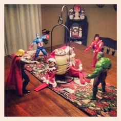 Avengers capture Breadcrumb and Snowflake....I hope they get some help - 15 Fun Elf on the Shelf Ideas