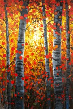 Sunrise through Autumn Aspens Commissioned Painting by pattyabaker, $299.00