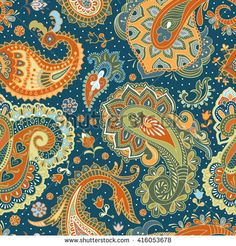 Hand drawn seamless pattern with Paisley elements. Colorful ethnic background.