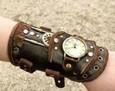 Leather steampunk watch by LullisCraft on Etsy