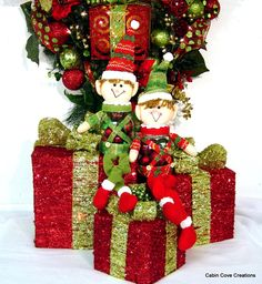 Elf shelf sitters with set of 3 Decorative Gift Boxes w lights prelit red lime gold wreath sold separately by Cabin Cove Creations