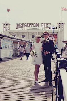 mod wedding on Brighton pier - nice dress, casual relaxed pic