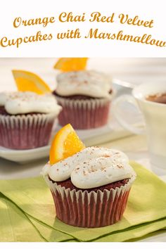 Orange Chai Red Velvet Cupcakes with Marshmallow Crème: Try these flavorful cupcakes any time of the year. Red Velvet Cupcakes, Velvet Cake, Cupcake Mix, Cupcake Cakes, Elegante Cupcakes, Cupcake Recipes, Dessert Recipes, Mothers Day Desserts, Small Desserts