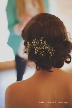 Bridal upstyle with Baby's Breath ♥ Protea and Rustic Fynbos Inspired Wedding at Langverwagt | Confetti Daydreams ♥  ♥  ♥ LIKE US ON FB: www.facebook.com/confettidaydreams  ♥  ♥  ♥ #Wedding #RealBride #RusticWedding