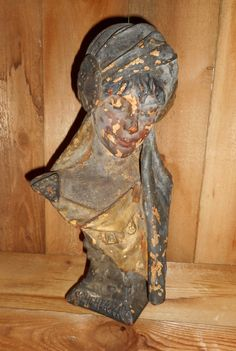 """Antique Rustic Distressed Bust Scheherazade """"Lady of The Night"""" Chippy Rustic Beautiful Antique Statue ,1001 Arabian NIghts"""