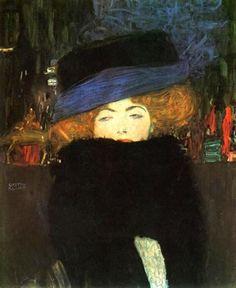 Gustav Klimt (Austrian; Art Nouveau, Symbolism; 1862-1918): Lady with Hat and Featherboa, 1909. Oil on canvas, 69 x 55 cm. The Österreichische Galerie Belvedere, Vienna, Austria
