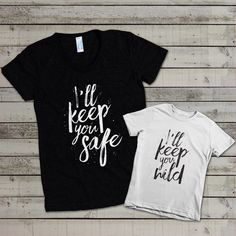 "Mommy's ""I'll Keep You Safe"": Mommy and Me Shirt Set de evadesignstudio en Etsy https://www.etsy.com/es/listing/245057787/mommys-ill-keep-you-safe-mommy-and-me"