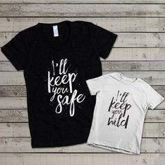 "Mommy's ""I'll Keep You Safe"": Mommy and Me Shirt Set de evadesignstudio en Etsy https://www.etsy.com/es/listing/245057787/mommys-ill-keep-you-safe-mommy-and-me"