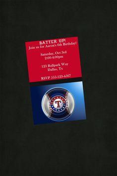 Texas Rangers Birthday Invitation Texas by JensPrintsAndMore