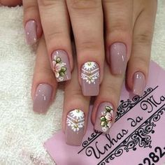 Coisinhas unhas decoradas perfeitas, unhas rosa, unhas com flores, unhas pedrarias, cores Crazy Nail Art, Crazy Nails, Love Nails, Aycrlic Nails, Manicure And Pedicure, Christmas Nail Designs, Christmas Nails, Gorgeous Nails, Pretty Nails