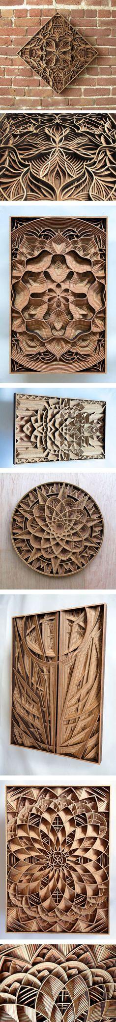 Geometric Laser-Cut Wood Relief Sculptures by Gabriel Schama: