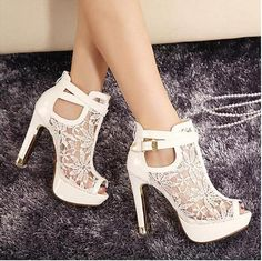 New Sexy White Black Lace Hollow Out Peep Toe Ankle Boots Buckle Metal Heels Breathable Chic Wedding Shoes Online with $35.55/Pair on Baihe518's Store | DHgate.com