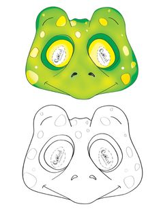 We've created a black and white Frog mask and colored Frog mask, choose your preference. Then cut all around, cut holes for the eyes, and punch a sm...