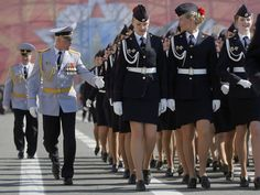 Russian Police academy female cadets march during a rehearsal for the Victory Day military parade at Dvortsovaya (Palace) Square in St Petersburg, Russia
