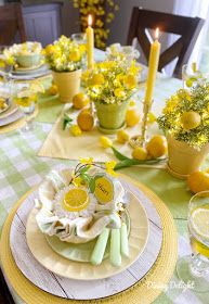 Dining Delight: Mother's Day Lemon Themed Tablescape Yellow Dinner Plates, Yellow Bowls, Catering, Mothers Day Dinner, Lemon Party, Lemon Kitchen, Deco Table, Dinner Sets, Tablescapes