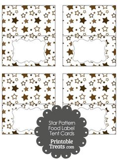 Brown Star Pattern Food Labels from PrintableTreats.com