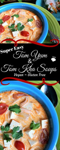 Vegan Tom Yum and Tom Kha Thai Soups are so quick and easy to make! Tom Yum it the spicy broth based soup you get at a Thai restaurant. If you add coconut milk, it is called Tom Kha. It's vegan and gluten free too! thehiddenveggies.com