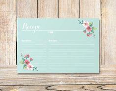 Printable Bridal Shower Recipe Card Vintage Floral by plpapers, $6.00