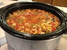 Best Taco soup ever: 2 lbs Ground Turkey (or hamburger) 1 onion (you can saute both together night before: add 1 can rotel, 1 can tomatoes, 1 can black beans, 1 can corn (no water) 1 can broth (chick or beef) 1 can water, 1 pkg taco season (spicy works), 1 pkg ranch dressing(spicy if wanted) 1 can green beans, can use 2 fresh zuchinni if want, put in crock pot on low - 4 -6 hrs. Top with cheese and tortilla chips. Enough for 6 people.