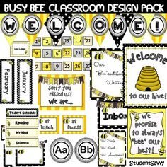 "Busy Bee Themed Classroom Décor!   This pack has everything you need to decorate your ""bee""autiful classroom and keep your busy bees happy! :)  *************************************************************************** Contents include:  WELCOME! banner   Daily Schedule Cards  -Reading -Writing -Science -Math -Language Arts -Free Time -Computers -Social Studies -P.E. -Open Court  -Lunch -Recess -Calendar -Story Time -Clean Up -Pack Up -Warm Ups -Art  -Library -fill in your own!  ""Sorry You…"