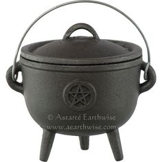 PENTACLE CAST IRON CAULDRON WITH LID K Wicca Pagan Witch Goth Incense PENTAGRAM
