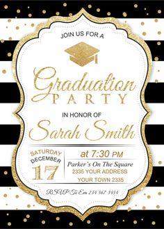 Invitación de la graduación. Blanco y negro por NiceStudioForYou