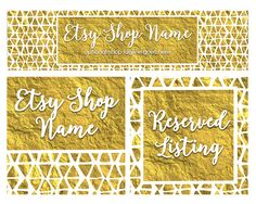 ON SALE - Etsy Cover Photo - Gold Etsy Shop Covers -  Gold Etsy Covers - 3  Piece Etsy Shop Cover Set - Gold 3-16 by RhondaJai on Etsy