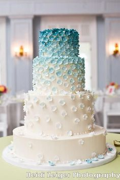 Amy Beck Cake Design - Chicago, IL - 4 Tier fondant wedding cake with blue fading to white sugar flowers - #amybeckcakedesign