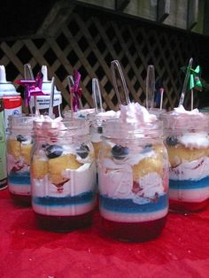 4th July Layered Jello Shots, Alcohol Infused Whip Cream & Sponge Cake  These would make for a bad ass BBQ