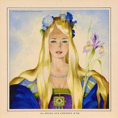 Atelier Jean Adrien MERCIER La Belle aux cheveux d'or, 1945-1950 La Belle aux cheveux d'or Aquarelle. 24,5 x 24, 5 cm Signé en haut à gauche Jean A. MERCIER - Millon - 22/05/2006