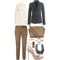 #98 by aylindemir on Polyvore featuring H&M, J.Crew, Vero Moda, Sergio Rossi, MICHAEL Michael Kors, With Love From CA, Michael Kors, Lord & Taylor, OPI and officewear