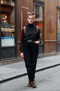 Street Style of Paris: Reine Dr. Martens, Street Snap, Unif, Street Style Women, Fasion, Her Hair, Work Wear, Normcore, Pullover