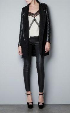 Standing Collar Leather Sleeve Woolen Coat-$33.90 FREE SHIPPING
