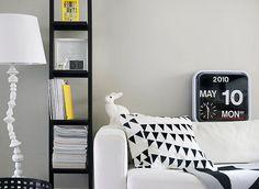 Habitat flip clock, rabbit light, and black & white cushion. Scandi Living Room, Home And Living, Living Rooms, Black And White Interior, Black White, White Cushions, Estilo Retro, Yellow Accents, Blog Design