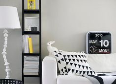 Habitat flip clock, rabbit light, and black & white cushion...