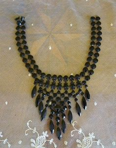 1870 -1890 Victorian French Jet Mourning Necklace, antique jewelry, jewellery