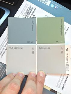Our final paint palette - Kennebunkport green as the kitchen accent wall, Coventry gray in most common spaces. Stonington gray in the bedrooms (Maybe a Brewster gray accent wall in the Master), and Brewster gray in the party room Bedroom Paint Colors, Paint Colors For Living Room, Wall Colors, Coventry Gray, Stonington Gray, Brown And Blue Living Room, Living Room Green, Accent Wall In Kitchen, Gray Walls In Kitchen
