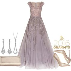 2016 Grammys Red Carpet by bluenile on Polyvore featuring Georges Hobeika, Jimmy Choo, Blue Nile, Grammys and diamond