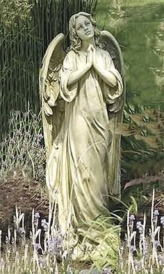 Praying Angel Garden Figure Large Size Tall Indoor Or Outdoor. Standing three feet tall this indoor or outdoor praying angel statue is sure to bring a heavenly peaceful feeling at each glance. Angel Garden Statues, Outdoor Garden Statues, Garden Angels, Garden Statues For Sale, Cemetery Angels, Cemetery Statues, Cemetery Art, Angels Among Us, Angels And Demons