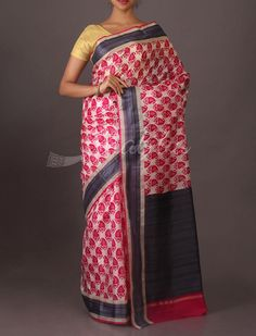 Sankya Traditional #PrintedSaree in White and Red