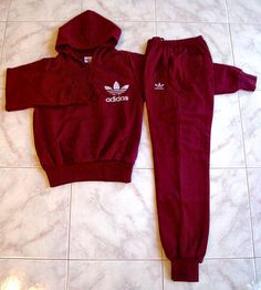 Adidas Sweat Suits for Women | Adidas Hoodie Sweats Top and Pants Maroon Size XS Women's Trefoil Logo ...