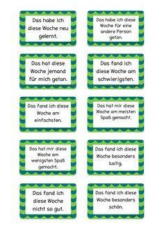 Wochenreflexionskarten für den Klassenrat