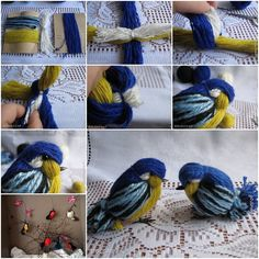 Pajaritos hermosos con un ovillo de cinco colores - DIY Yarn Birdies