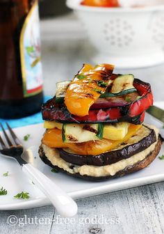 Grilled Vegetable Stack with Lemon Hummus from Gluten Free Goddess